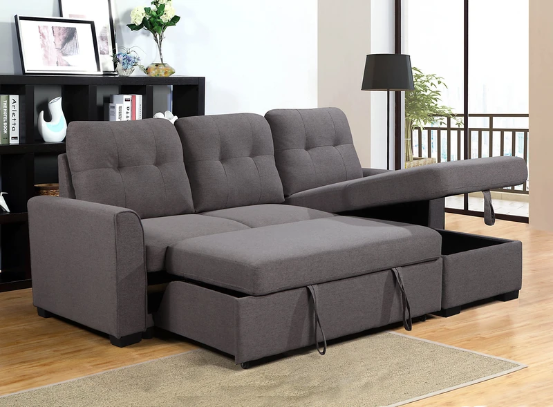 Carter 2 Piece Right Facing Linen Look Fabric Sleeper Sectional S In 2020 Sleeper Sectional Sectional New Living Room