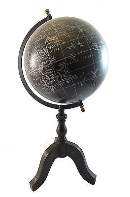 18 vintage antique style world map black ocean silver globe w 18 vintage antique style world map black ocean silver globe w wood stand gumiabroncs Gallery