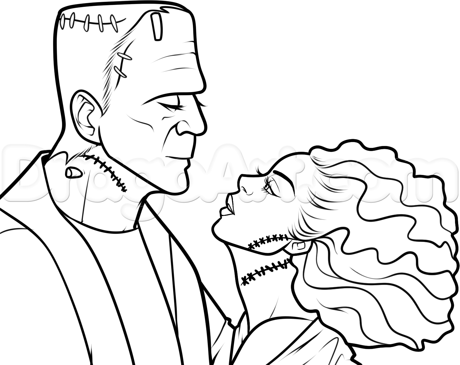 how to draw frankenstein and his bride step 12 z pinterest