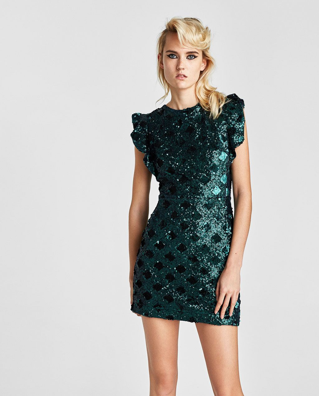 b3ced24a Image 2 of SHORT SEQUIN DRESS from Zara | Things I Want | Green ...