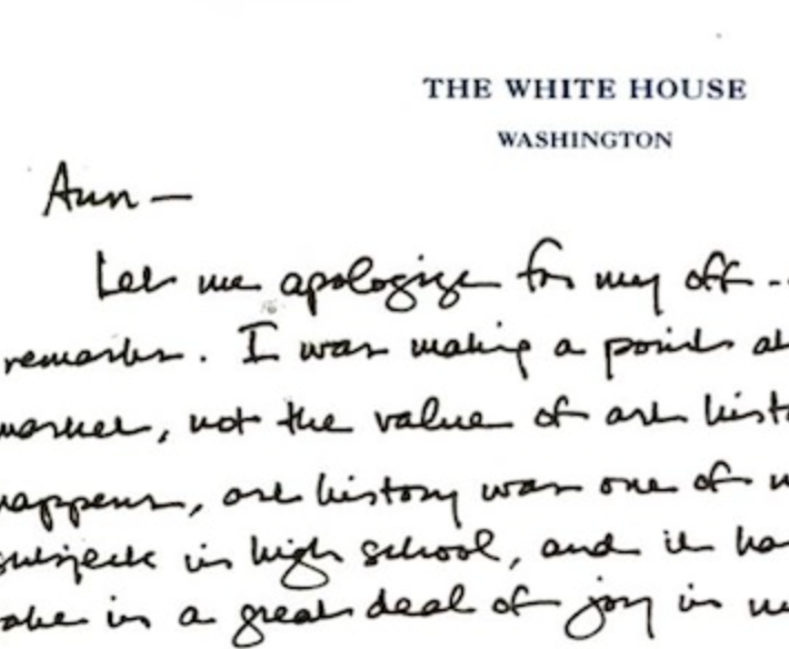 A Snippet Of ObamaS Apology Letter To Prof Ann Collins Johns