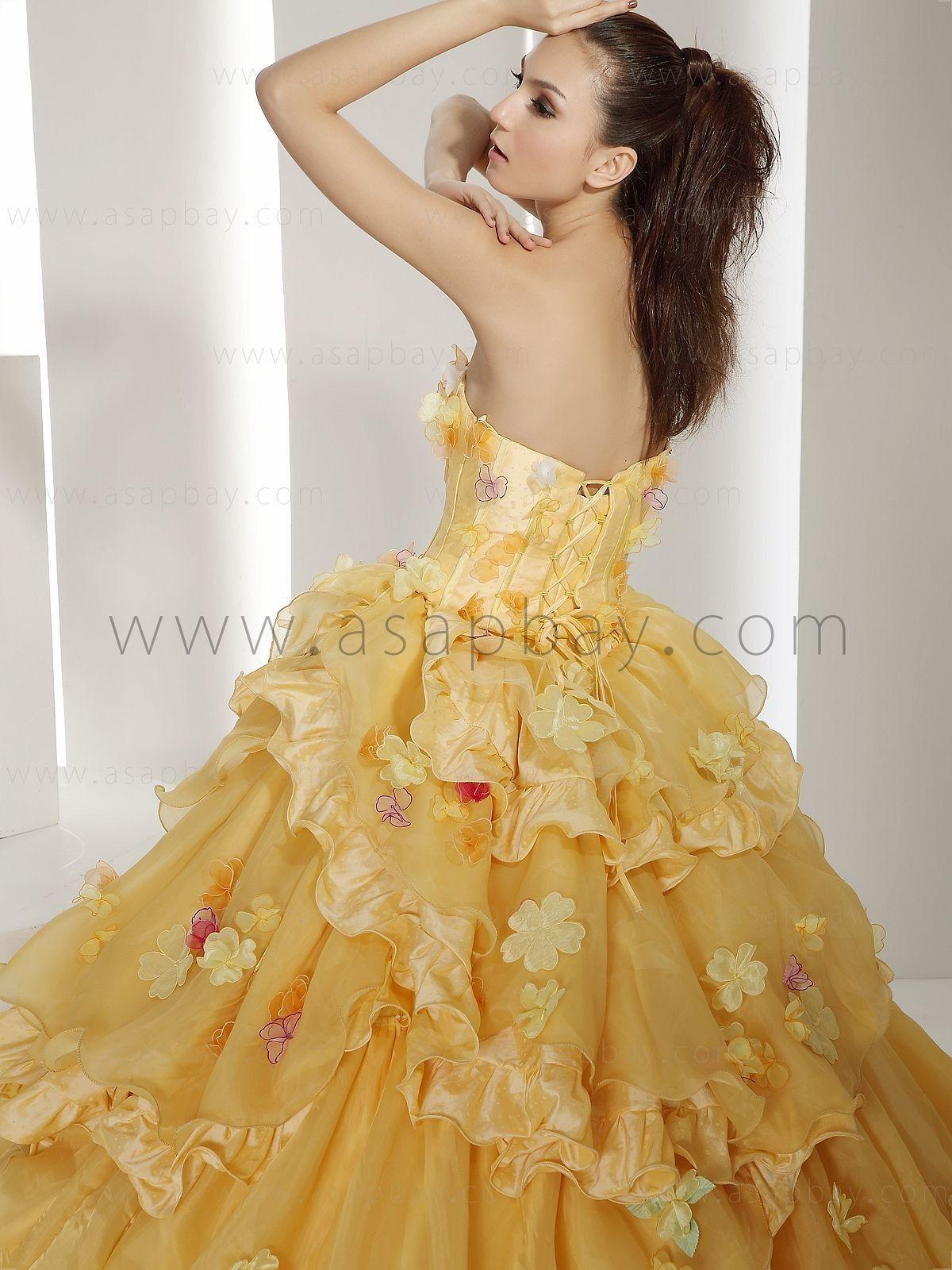Yellow chapel train organza strapless ball gown wedding dress