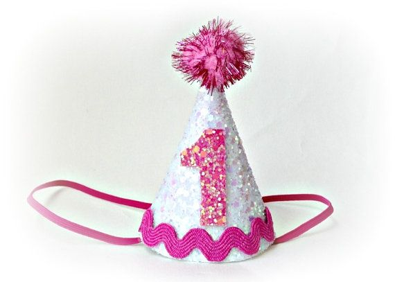 First Birthday Party Hat Cone Glitter By Littleblueolive 1900