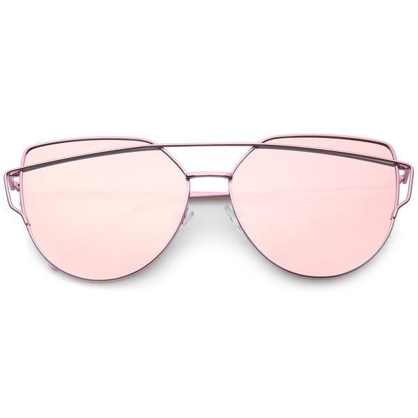 c5aacd37fc Women s Oversize Cross Brow Flat Mirrored Lens Sunglasses A546 ...