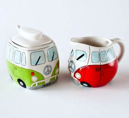 Volkswagon Vw Bus with Peace Sign Sugar & Creamer Set w/ Spoon, Green & Red: Amazon.com: Kitchen & Dining
