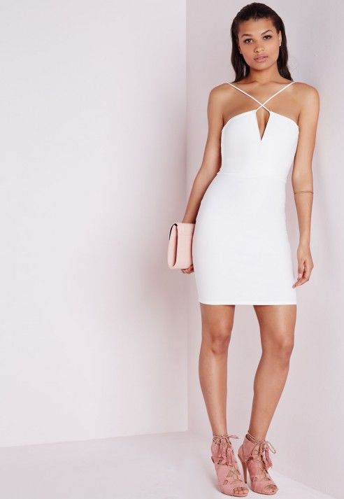 fa3ce76010 Crepe Strappy Bodycon Dress White - Dresses - Bodycon Dresses - Missguided