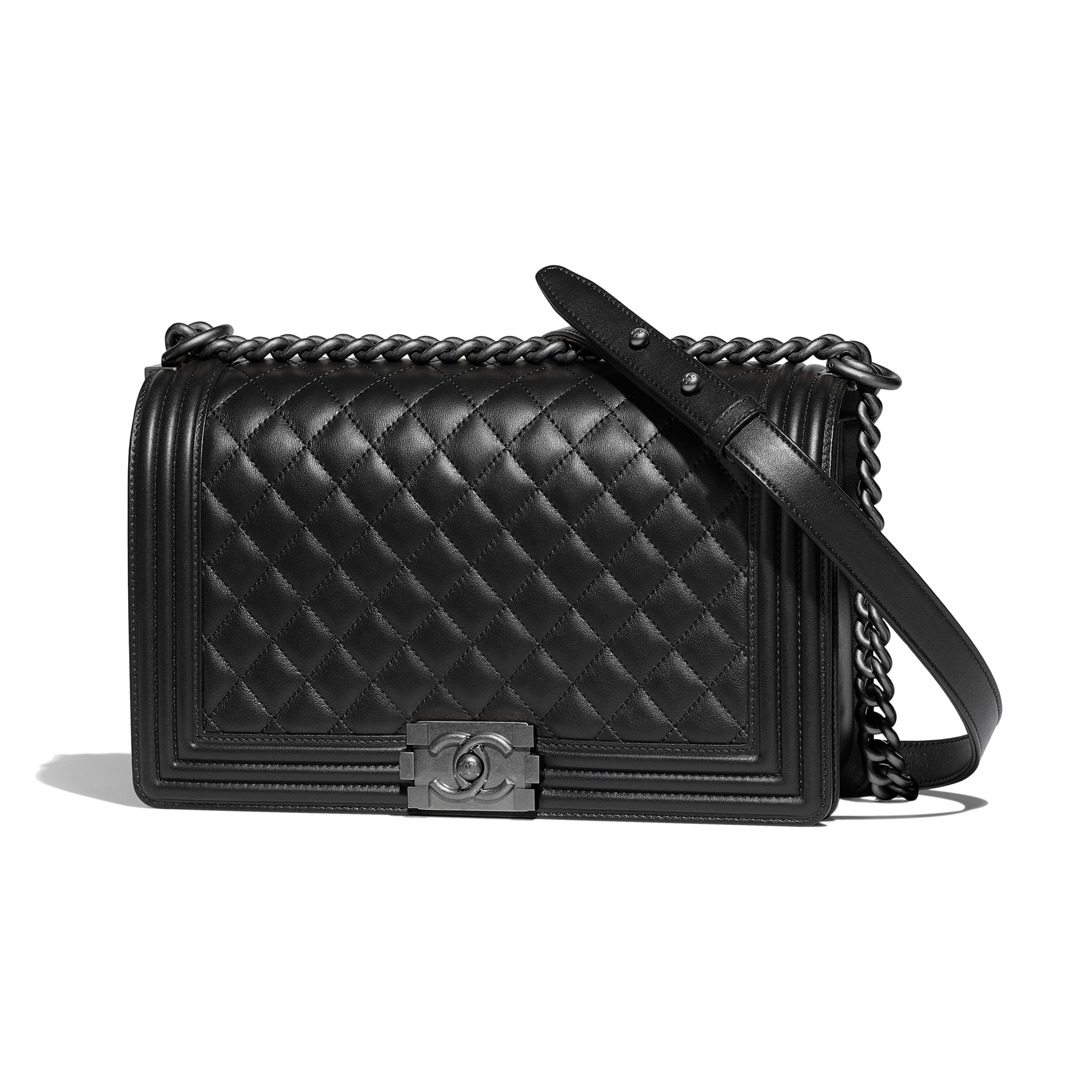 c020f1279a4b7 Large BOY CHANEL Handbag - Black - Calfskin & Ruthenium-Finish Metal -  Default view - see standard sized version