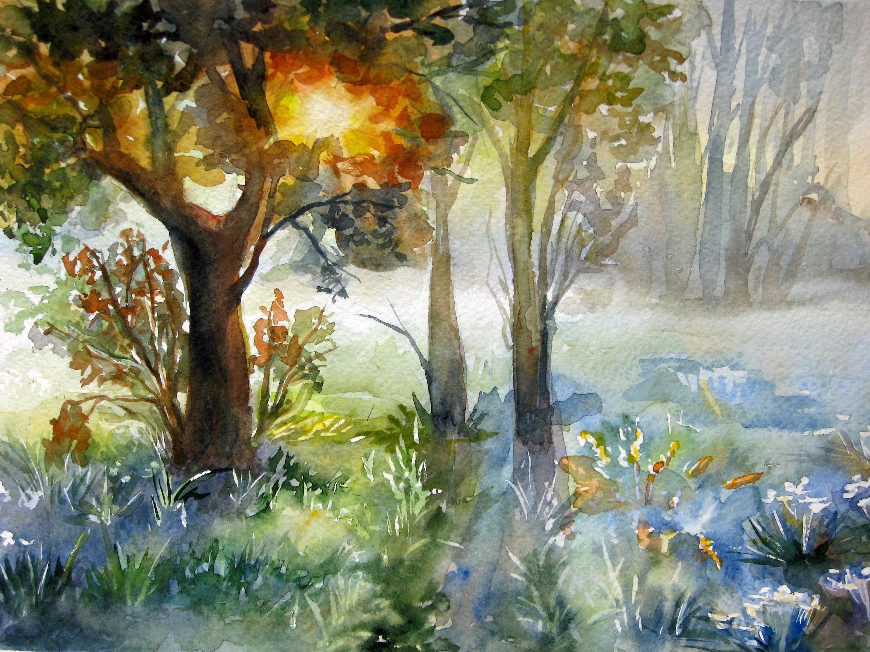Original Landscape Painting Forest Watercolor Landscape Summer Landscape Painting Bos