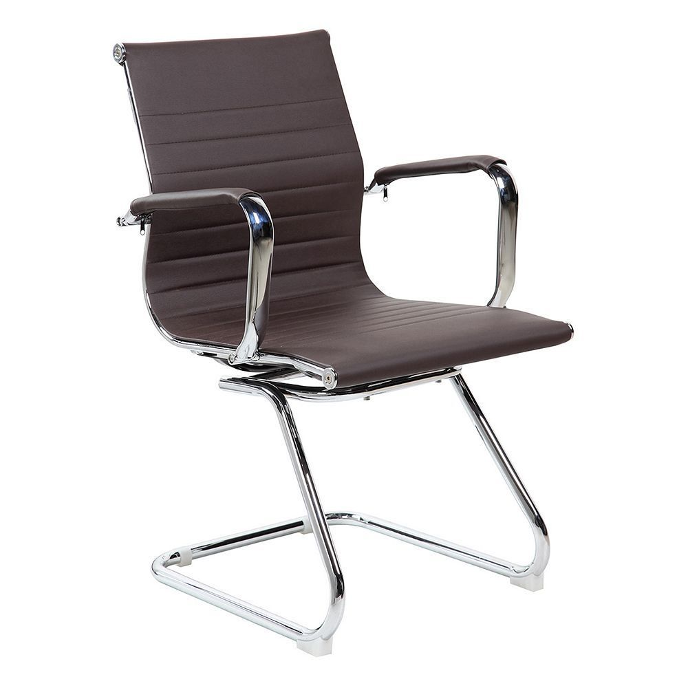 Techni Mobili Modern Faux Leather Office Visitor Chair Brown