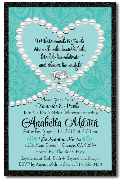 Diamonds pearls tiffany blue bridal shower invitation for Bridal shower email invitations