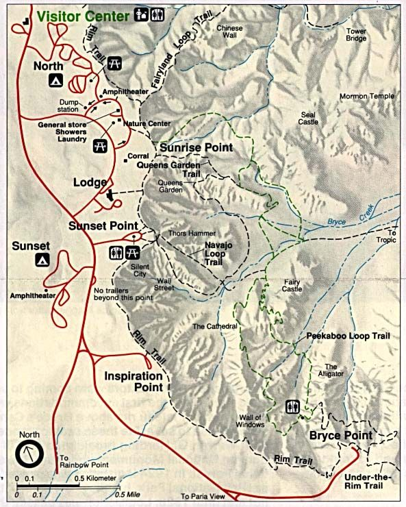 Bryce Canyopn trail map (593×740) in 2019 | Bryce canyon ...
