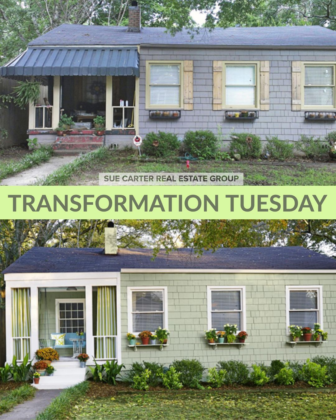 🏚➡️🏡 Small Curb Appeal Updates Make a Big Impact! #TransformationTuesday #CurbAppeal #SueCarterRealEstateGroup