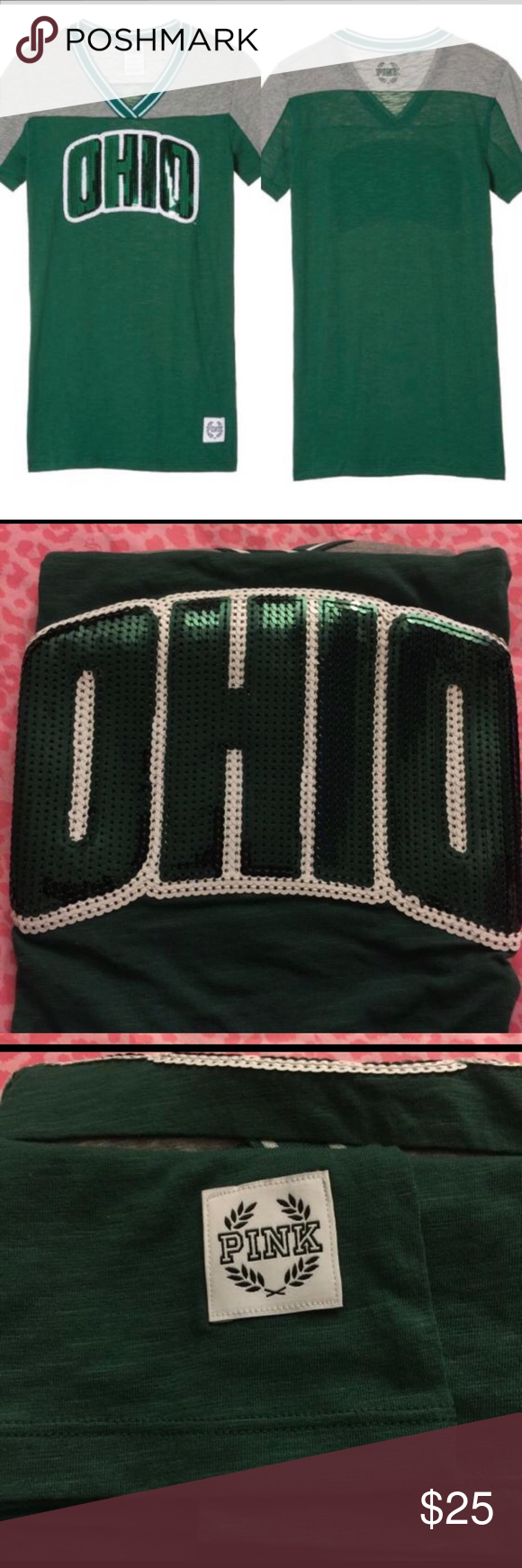 VS PINK 'OHIO' bling fitted V-neck tee. NWT. M. Brand new with tags. VS PINK collegiate collection. However, it just says OHIO in front, so collegiate or not, anyone can wear this. Fitted V-neck Size M tee. Ask any questions. Bundle and save. PINK Victoria's Secret Tops Tees - Short Sleeve