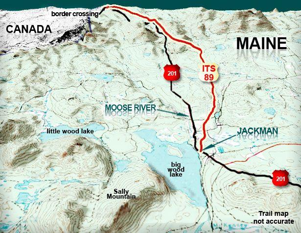 maine canada border map Maine Canada Border Its 89 North Jackman To Canada Snowmobile Trail Snowmobile Maine Border maine canada border map