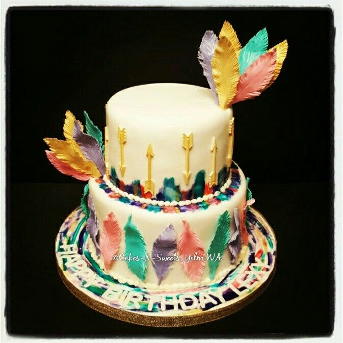 Bohemian Themed Birthday Cake By Cakes N Sweets Handmade Feathers And Gold Arrows 13 Birthday Cake Birthday Cake