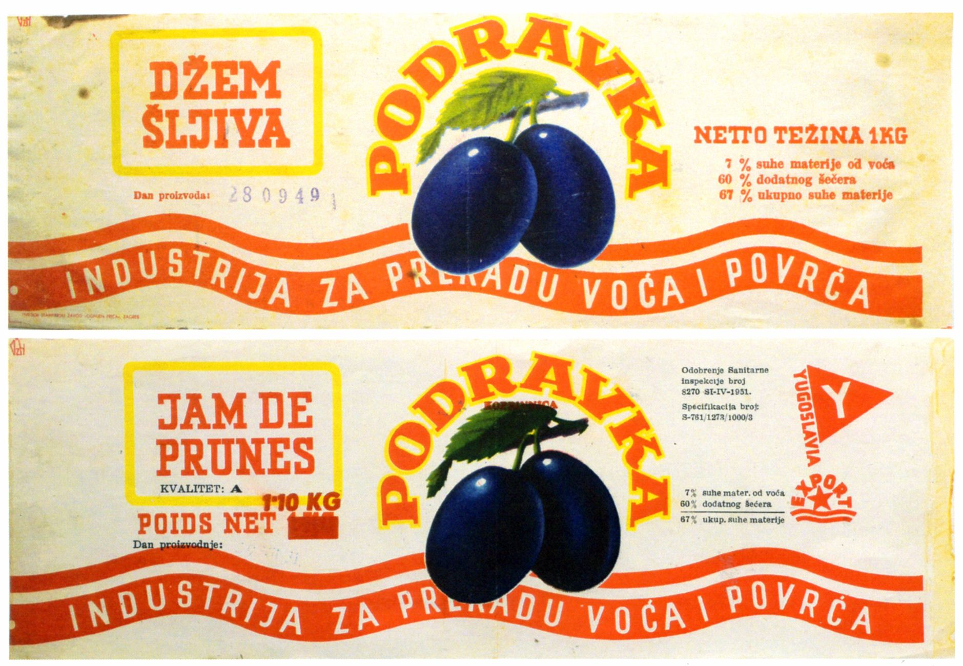 Product Label Of Podravka Plum Jam The Famous Brand Of Croatian Food Processing Company Design By Ozeha Product Label Advertising Material Advertising Agency