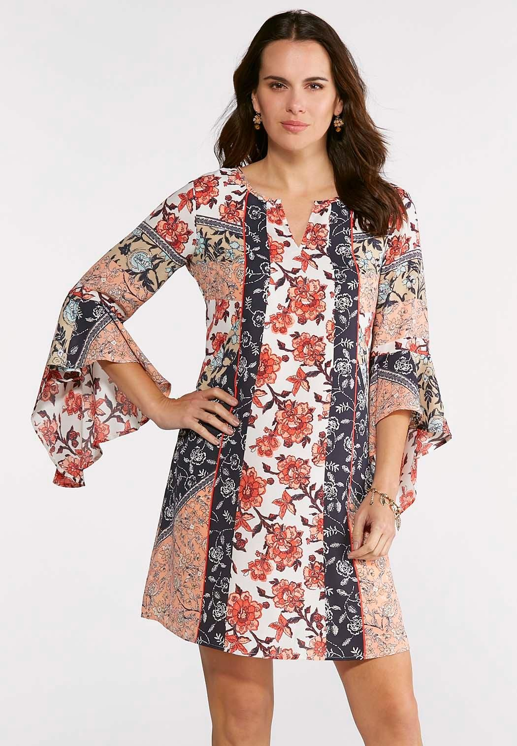 Plus Size Floral Patchwork Swing Dress A-line   Swing Cato Fashions ... a7dc66ce1