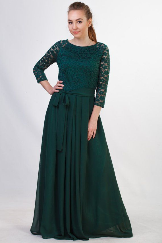 a9510a7c4c1d Green bridesmaid dress. Long lace dress with 3 4 sleeves. Mother of the  groom dress. Junior bridesma