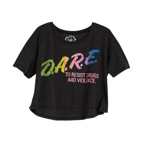 D.A.R.E Neon Tee ($9.99) ❤ liked on Polyvore featuring tops, t-shirts, shirts, tees, graphic tees, graphic design tees, graphic shirts, graphic tank tops, t shirts and henley t shirt