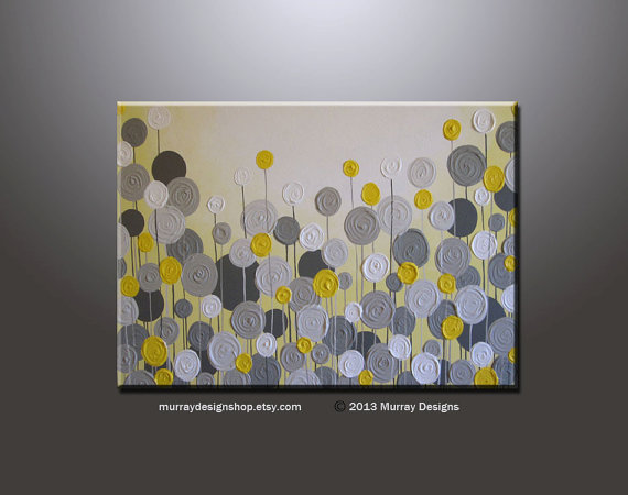 """LARGE ABSTRACT CIRCLES ART PICTURE YELLOW AND GREY CANVAS SPLIT PANELS 40/"""""""