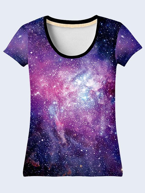 469e537bfa99 Outer Space T Shirt, Colorful Ladies Top, Purple T Shirt, Galaxy ...