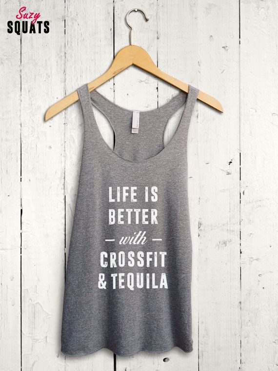 aa0342f661 Crossfit And Tequila Shirt - funny crossfit tank top, womens racerback  tank, funny workout