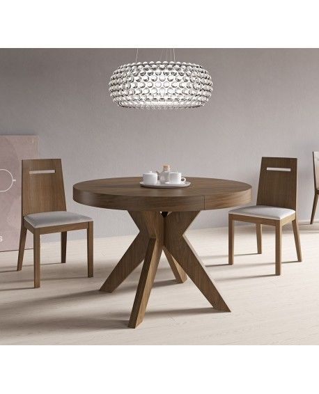Mesa roma mesa de comedor extensible mesa de madera for Mesa comedor redonda extensible madera