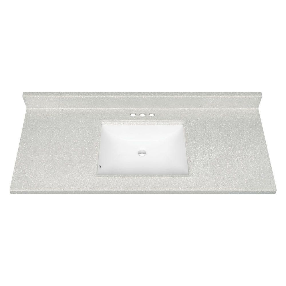 Glacier Bay 49 in. W Solid Surface Technology Vanity Top in Silver Fox with White Basin  $239 home depot