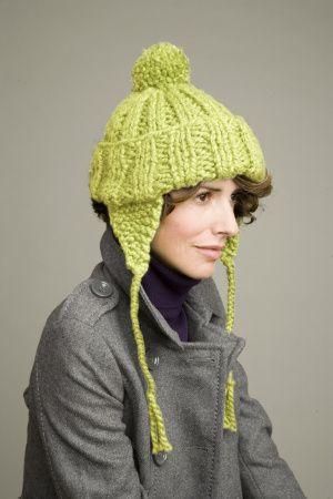 Free Knitting Pattern L0196AD Limeade Earflap Hat : Lion Brand Yarn ...