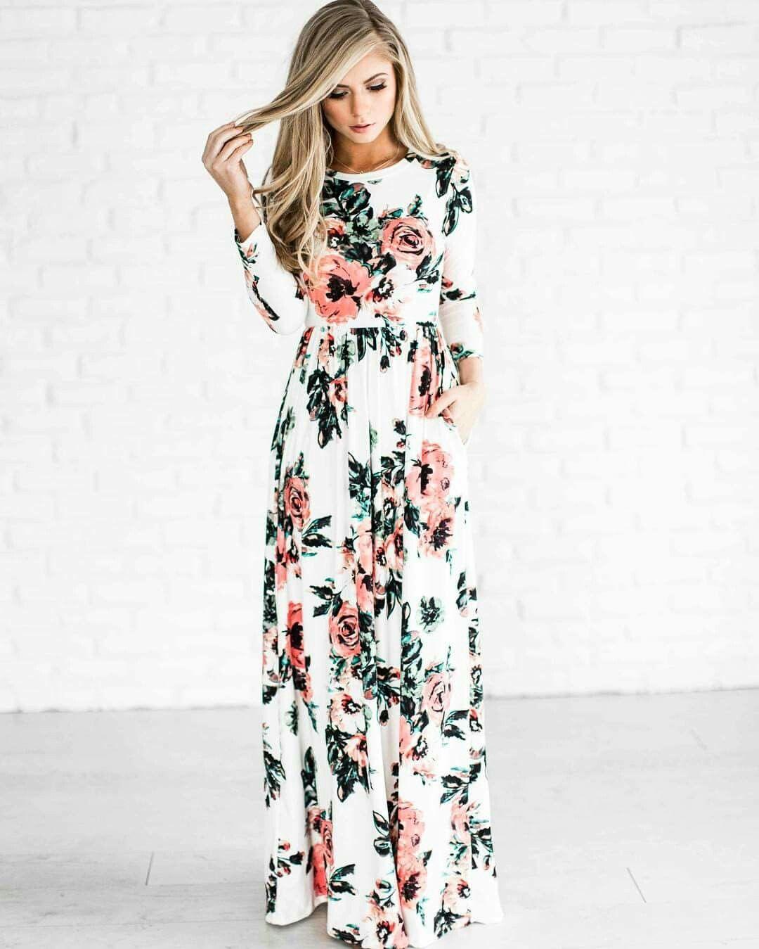 Anniversary Inspiration Long Fl Dresses Casual Bridesmaid Sleeve