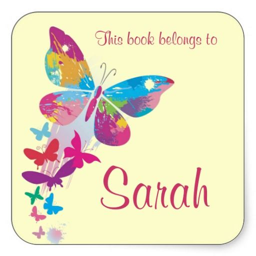 Personalized Butterfly Bookplate Sticker