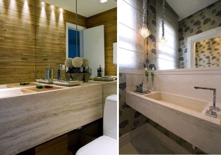 Bancadas com cubas escavadas no mármore Travertino Romano Bruto, projeto Valé -> Cuba Banheiro Travertino