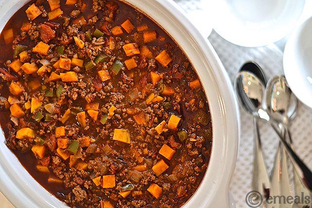 Paleo Slow Cooker Ground Beef Sweet Potato Chili Emeals Emealseats Paleo Slow Cooker Slow Cooker Ground Beef Crockpot Recipes Slow Cooker