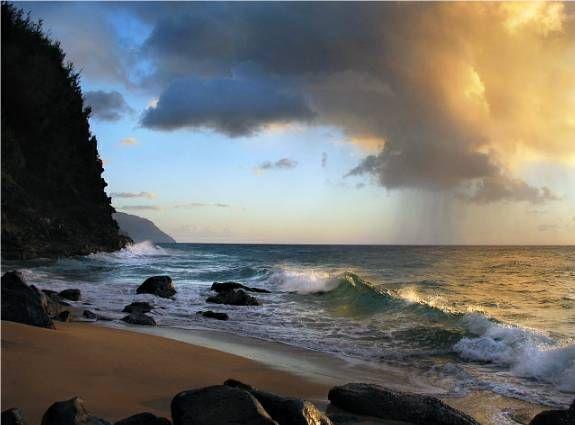 Na Pali Coast Rainshower - Kauai, Hawaii