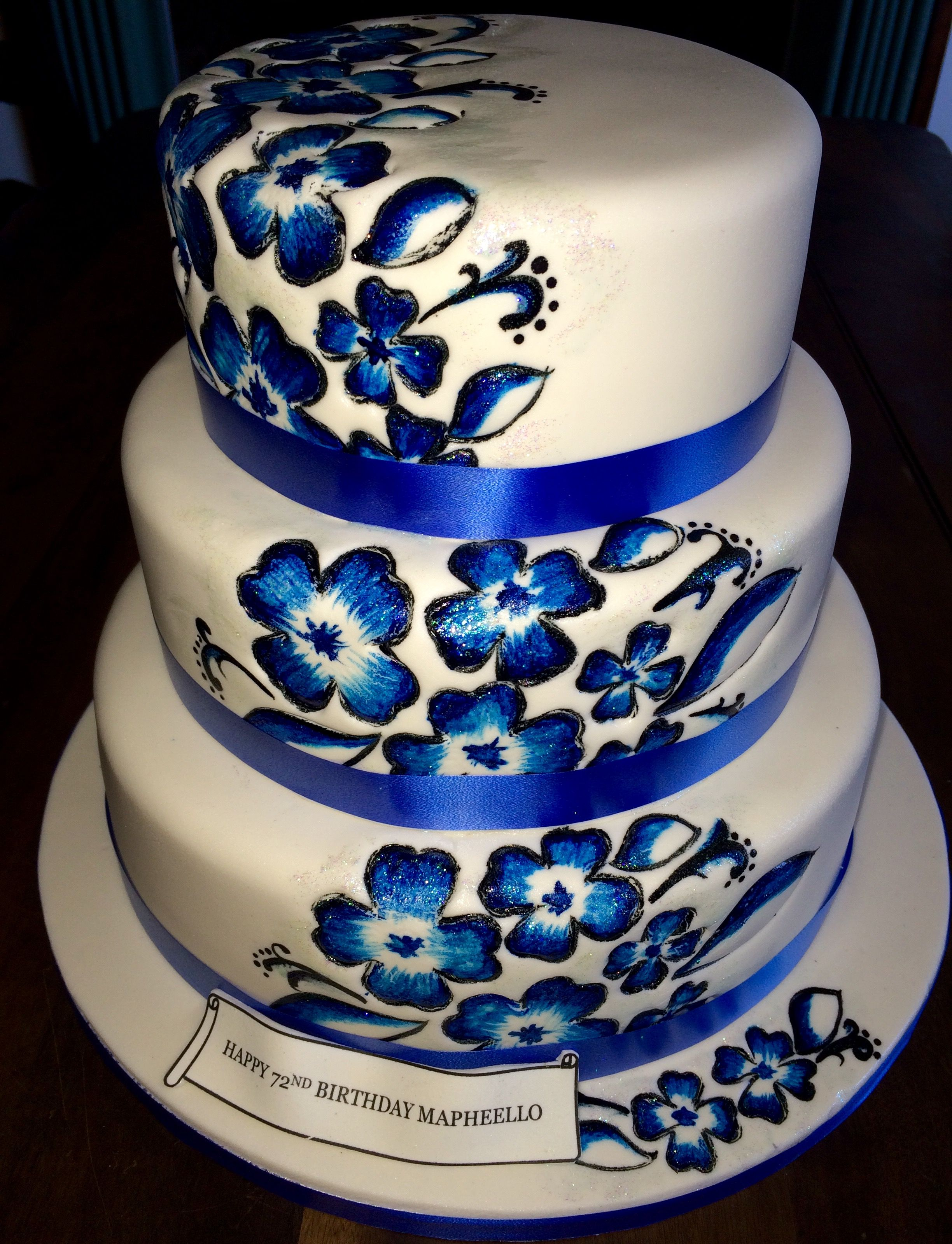 Three Tier 72nd Birthday Cake In Blue And White