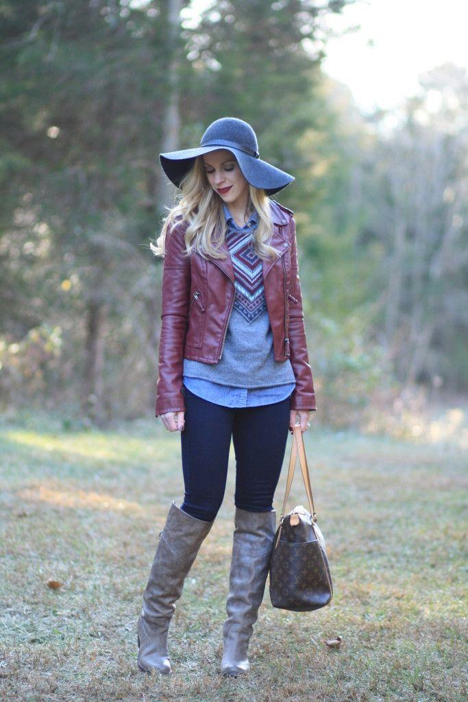 Layered Leather: burgundy leather moto jacket, fair isle sweater ...