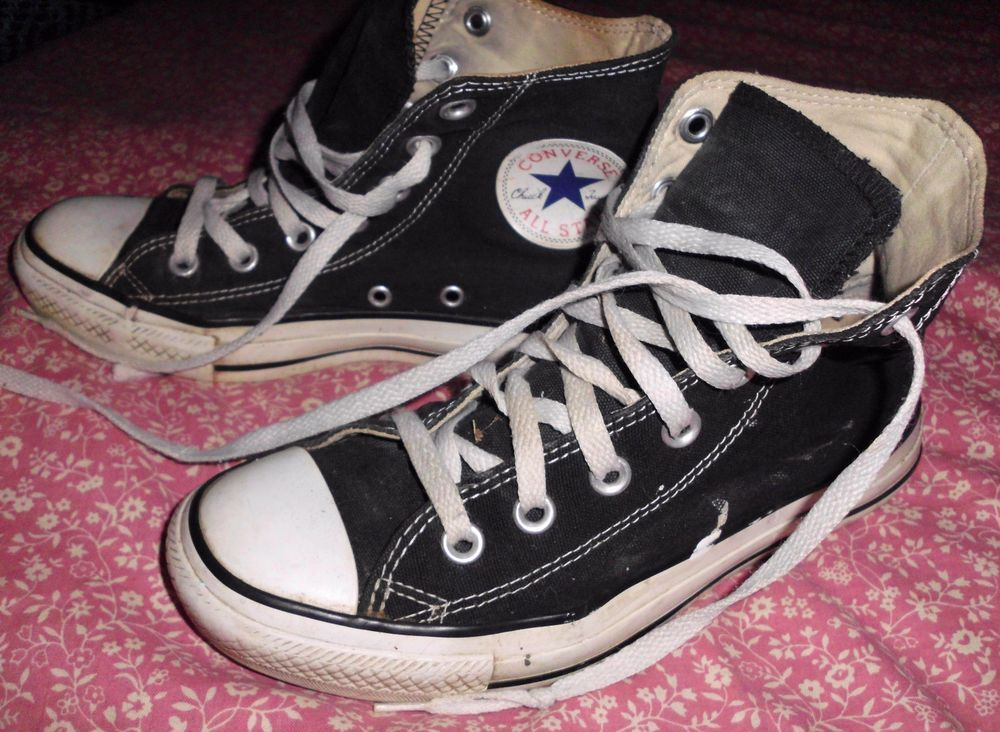 Converse All Star Black Canvas Trashed Grunge Hi Top Sneakers Shoes Sz 5m 7w Converse Athleticinspired