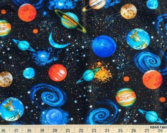 Patchwork Fabric Fat Quarter Timeless Treasures Space Planets Print Fabric C8219