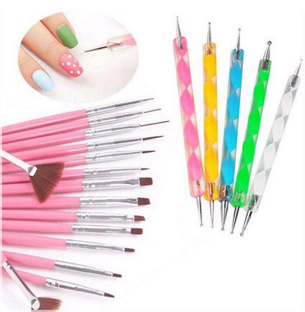 Nail Art 20pcs Uv Gel Design Pen Painting Brush Pink Set For Salon