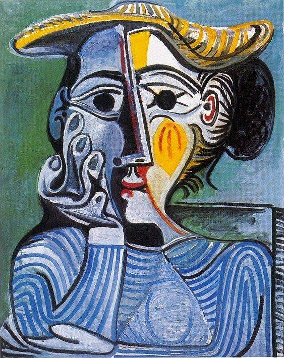 1961 Femme au chapeau jaune (Jacqueline)