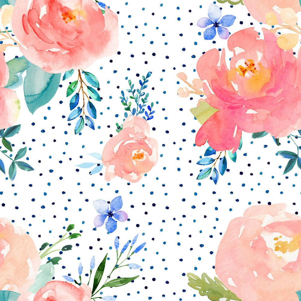 Floral fabric floral sweet pastel shibori watercolor blue polka dots by shopcabin woodland floral fabric with spoonflower from spoonflower on etsy