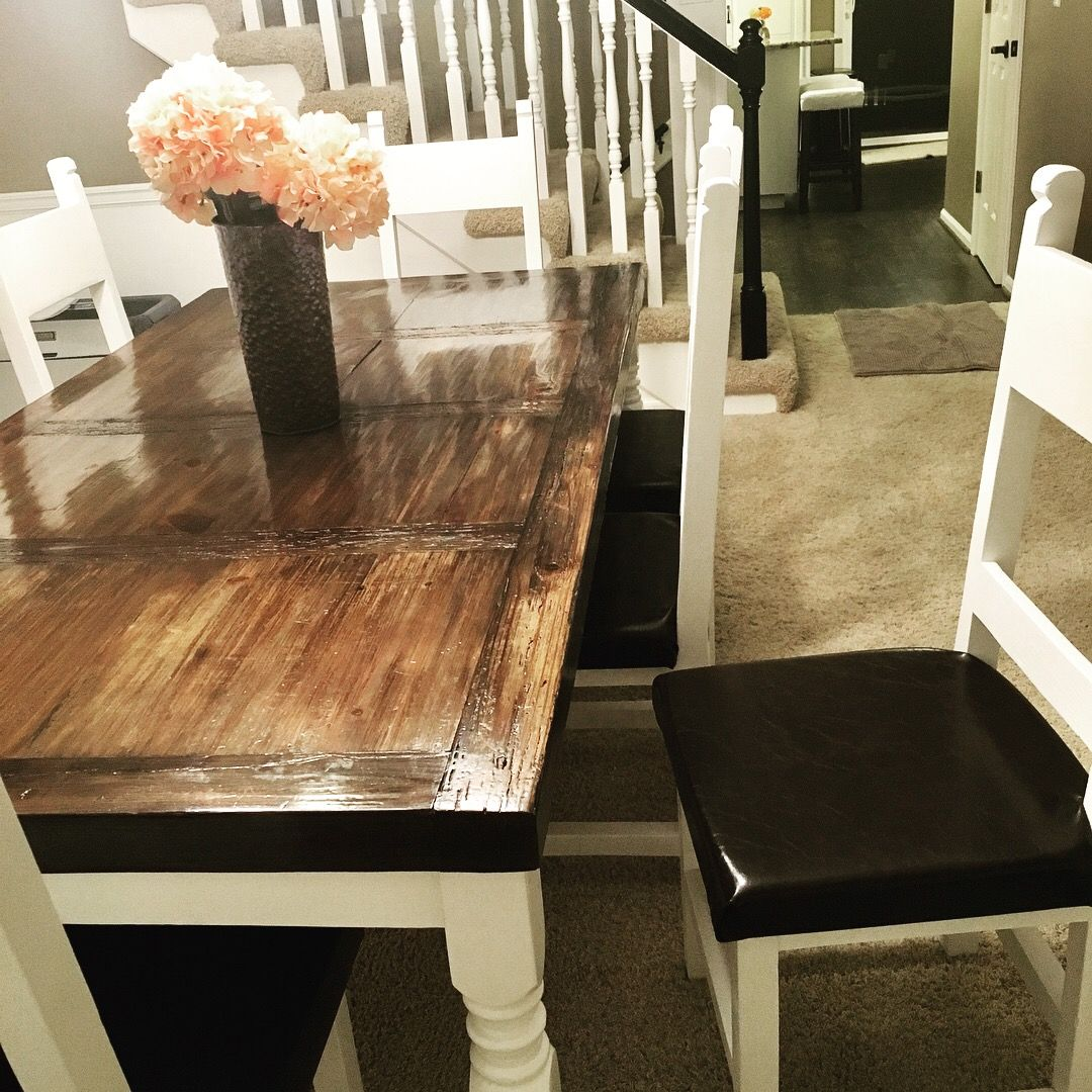 White And Brown Dining Room Table And Chairs: Sherwin Williams Alabaster  White Paint, Minwax Wood Finish Penetrating Stain In Ebony 2718, Minwax  Fast Drying ...
