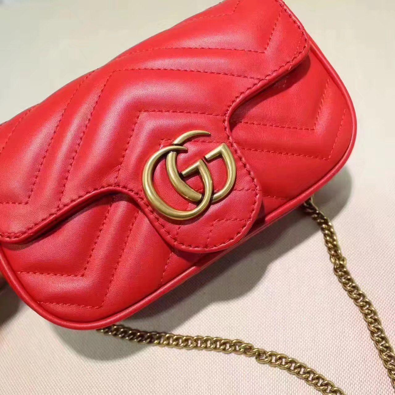 0fa5ed63c342 Replica GUCCI GG Marmont matelasse leather super mini bag red ID 31678