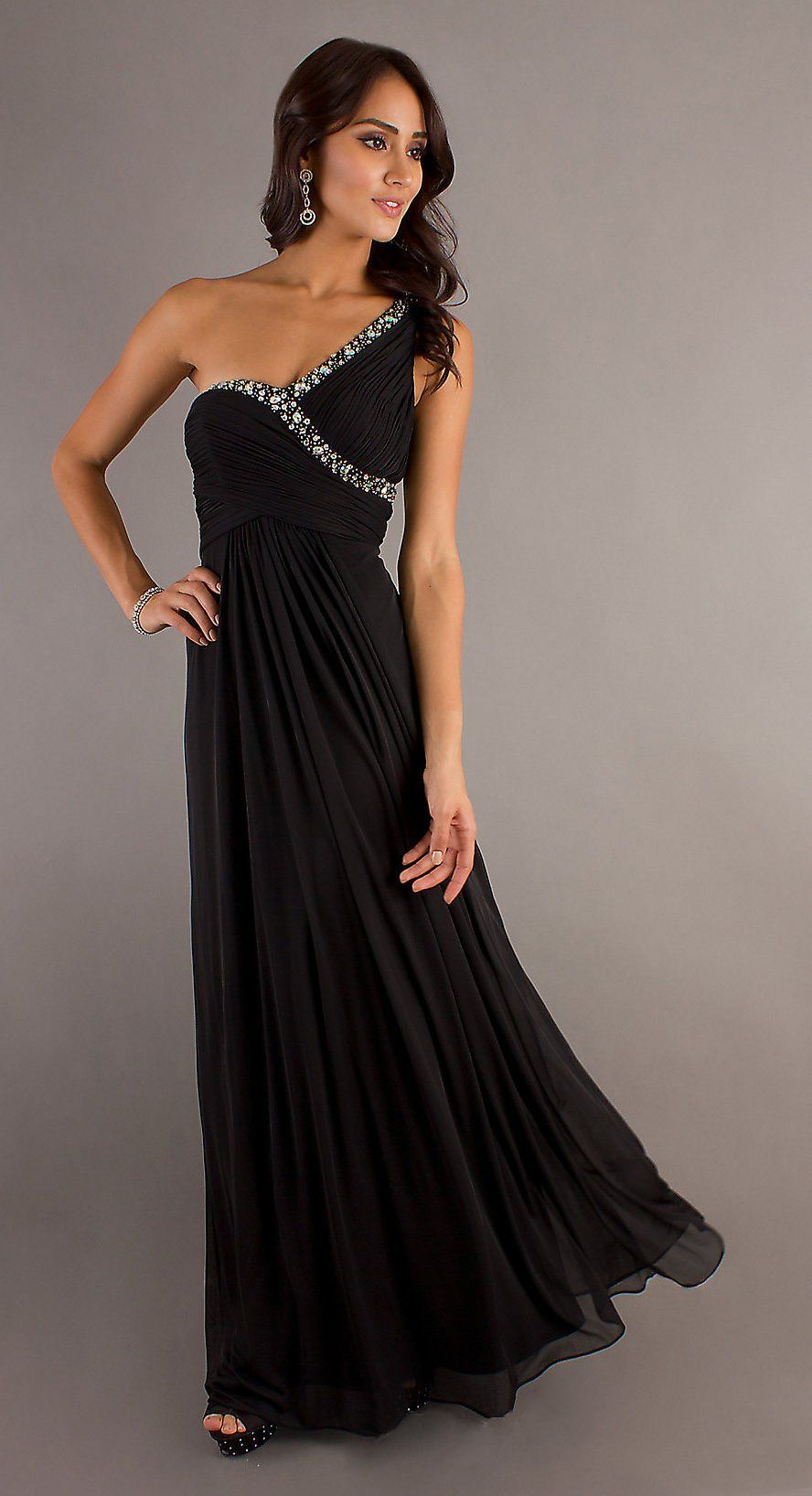 Chiffon flowy long black semi formal dress one strap empire waist