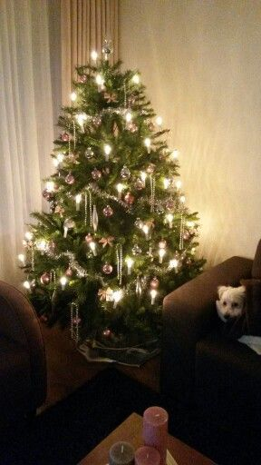Kerstboom roze zilver