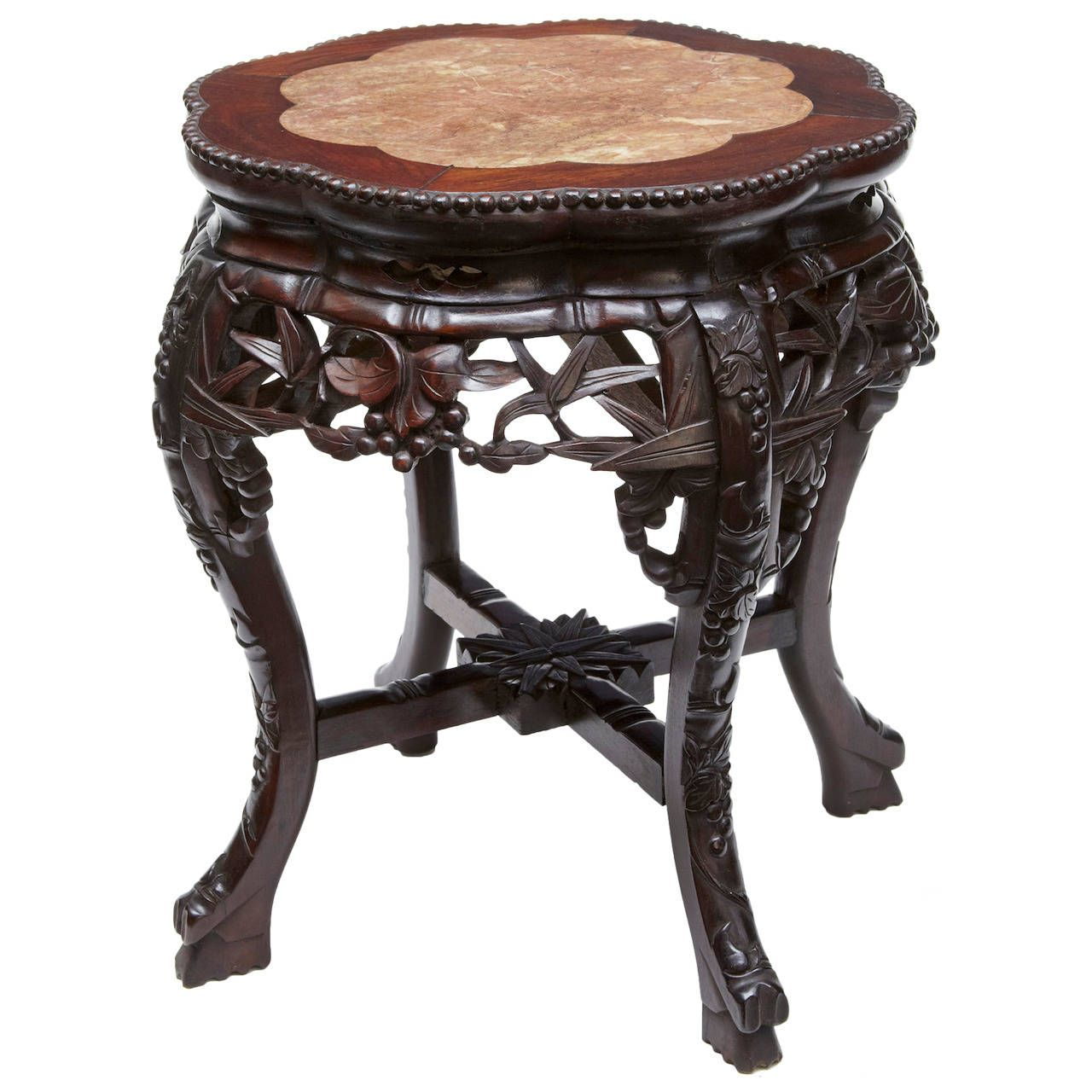 19th Century Chinese, Carved Hardwood Plant Stand Table