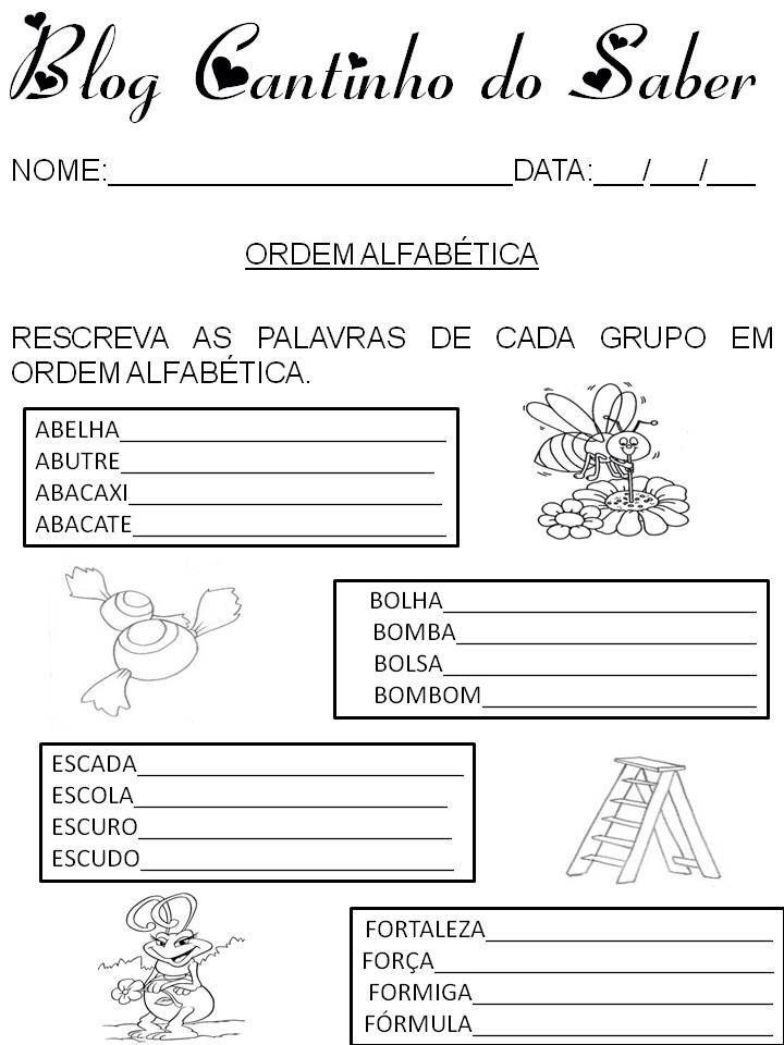 Atividade Ordem Alfabetica Atividade De Portugues Ordem