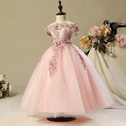 Sleeveless Wedding Party Flower Girl Luxury Ball Gown Pink Organza