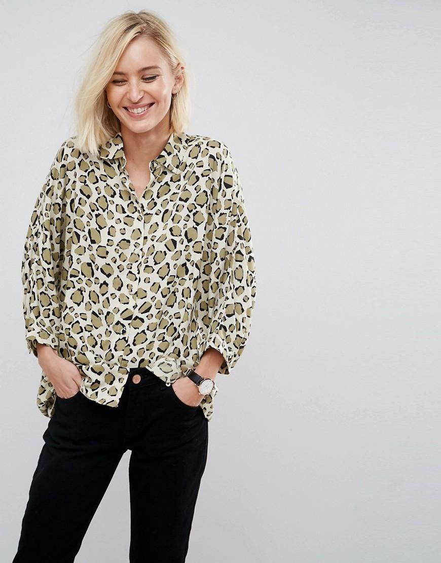 Asos asos asos oversized shirt in abstract animal multi