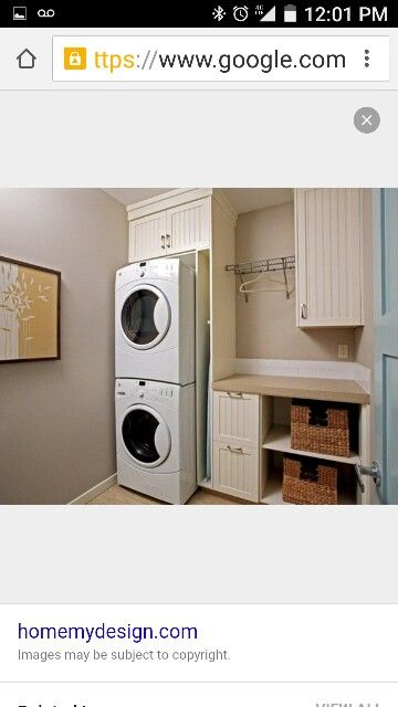Prefect Setup For Breezehouse Laundry W/bamboo Cabinets And Folding Counter  And Slot For Ironing Board. Stacking 2 LG Steam Washer/Dryer Combos.